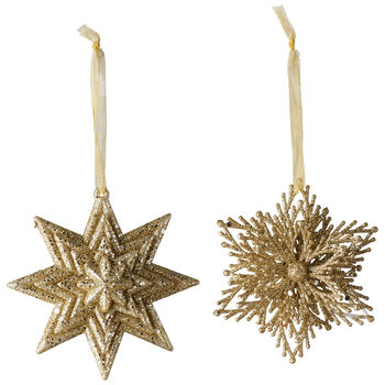 Christmas Decoration Dekohänger Stern/Schneeflocke, gold, 10 cm, 2er-Set