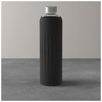ToGo&ToStay Glas-Flasche, 1l, mit Silikonmantel, schwarz