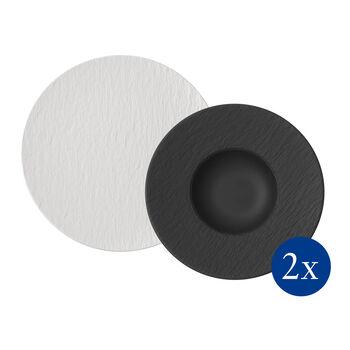 Manufacture Rock Pasta-Set, 4-teilig, für 2 Personen, Weiß/Schwarz