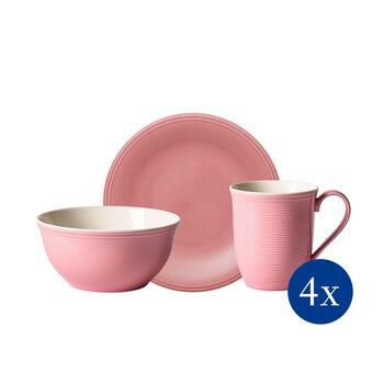 Color Loop Rose Frühstücks-Set, rose, 12-teilig