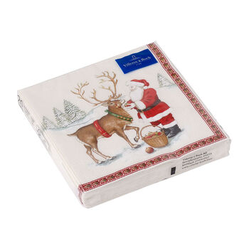 Winter Specials Lunch-Serviette Rentier, braun/bunt, 20 Stück, 33 x 33 cm