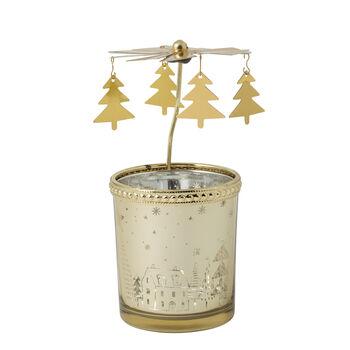 Winter Collage Accessoires Windlicht-Glas, gold, 13 cm