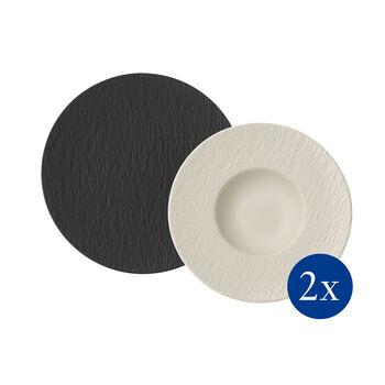 Manufacture Rock Pasta-Set, 4-teilig, für 2 Personen, Schwarz/Weiß