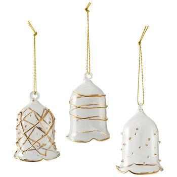 Winter Collage Accessoires Glasglocken-Set, gold, 16 x 11 x 6 cm, 3-teilig