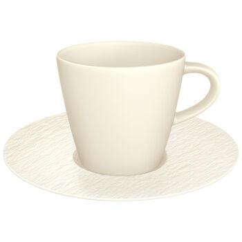 Manufacture Rock Blanc Kaffeetasse mit Untertasse, weiß, 2-teilig