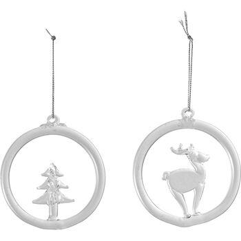Christmas Decoration Glashänger Rentier und Baum, 8,5 cm