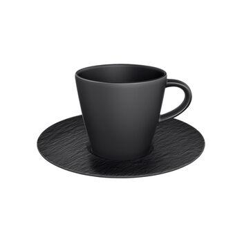 Manufacture Rock Kaffeetasse mit Untertasse, schwarz/grau, 2-teilig