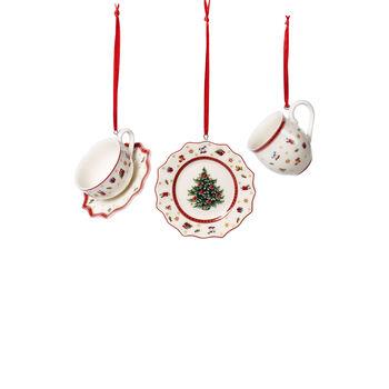 Toy's Delight Decoration Ornamente Geschirr-Set, weiß/rot, 3-teilig, 6,3 cm