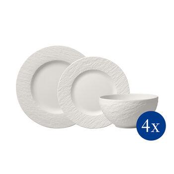 Manufacture Rock blanc Teller-Set, 12tlg,  4 Personen