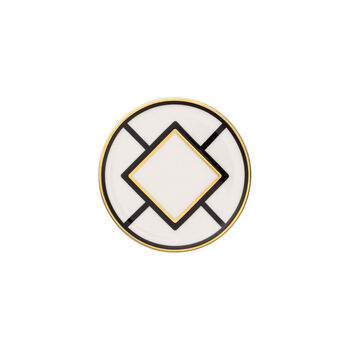 MetroChic Untersetzer, Durchmesser 11 cm, Weiß-Schwarz-Gold