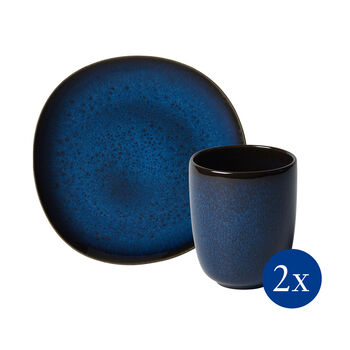 like.by Villeroy & Boch Lave Frühstücks-Set, 4-teilig, für 2 Personen, Blau