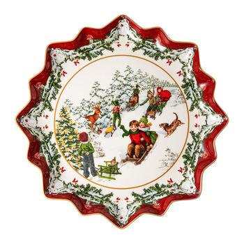 Toy's Fantasy tiefer Gebäckteller Schlittenfahrt, bunt/rot/weiß, 39 x 39 x 3,5 cm