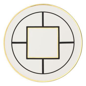 MetroChic Kuchen-/Tortenplatte, Durchmesser 33 cm, Weiß-Schwarz-Gold