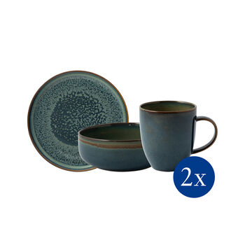 Crafted Breeze Frühstücks-Set, graublau, 6-teilig