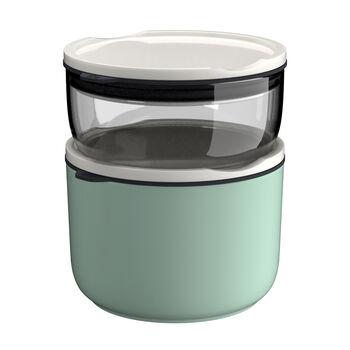 ToGo&ToStay Lunchbox-Set, 2-teilig, glas, grau/mintgrün