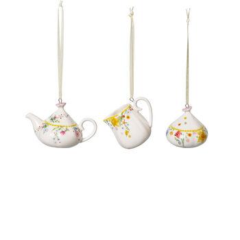 Spring Awakening Kaffeeset-Ornamente, 3-teilig, gelb/bunt