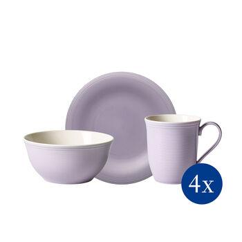 Color Loop Blueblossom Blossom Frühstücks-Set, Lila, 12-teilig